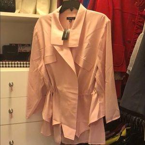 Pink drawstring jacket with chiffon sleeves